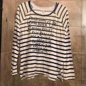 Anthropologie Sundry Brand striped graphic Shirt
